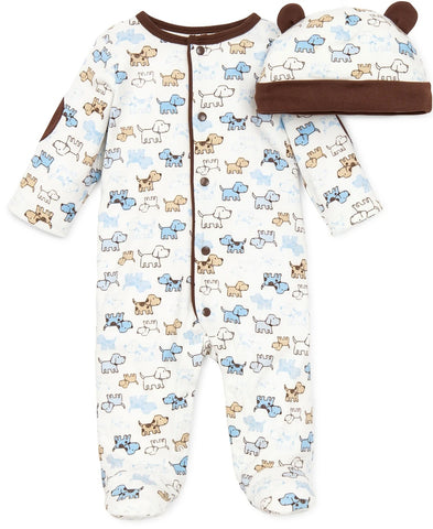 Little Me Boys Newborn Footed Rompers with Matching Cap (Preemie - 3 months)