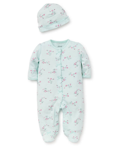 Little Me Girls Newborn Footed Rompers with Matching Cap (Preemie - 3 months)