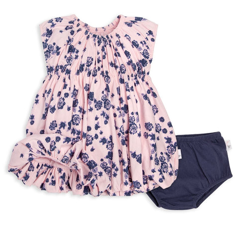 Burt's Bees Pink and Navy Floral Bubble Dress Set