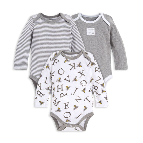 Burt's Bees 3pc Set Long Sleeve Snap Bodysuits