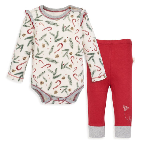 Burt's Bees Candy Cane Forest Bodysuit and Pants Set