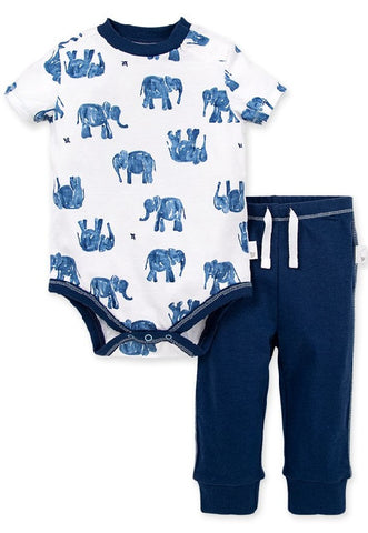 Burt's Bees Blue Elephant Bodysuit and Pants