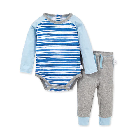 Burt's Bees Light Blue Striped Top and Pant Set