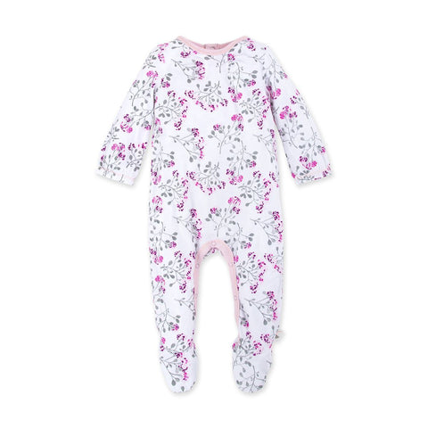 Burt's Bees Pink Footed Floral Romper