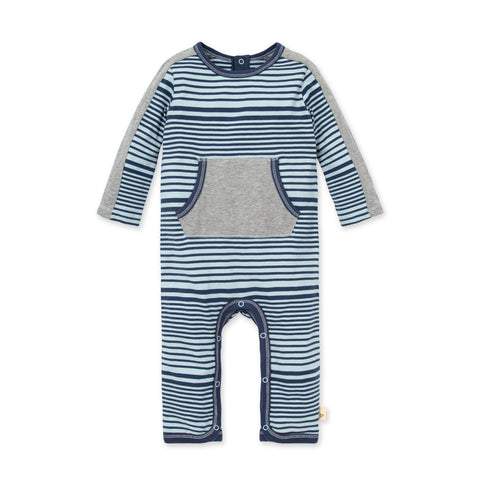 Burt's Bees Blue Striped Long Sleeve Romper