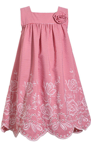 Bonnie Jean Red Gingham Eyelet Dress with Embroidery