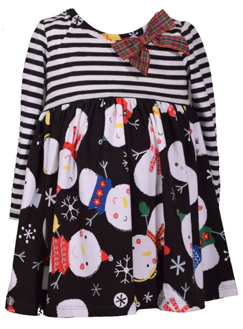 Bonnie Jean Girls Black Snowman Dress