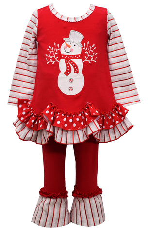 Bonnie Jean Red Snowman Legging Set