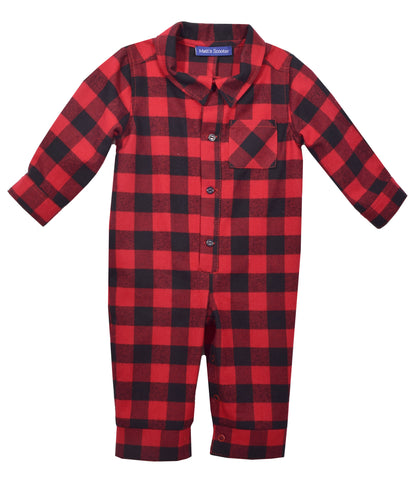 Matt's Scooter Buffalo Check Flannel One Piece Romper