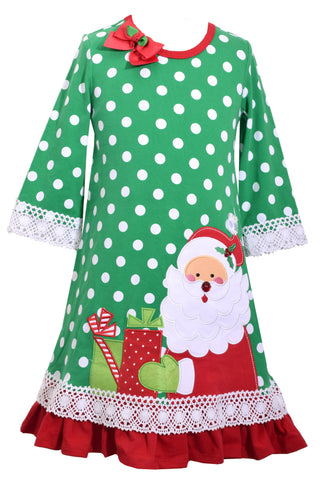 Bonnie Jean Green Polka Dot Christmas Santa Dress