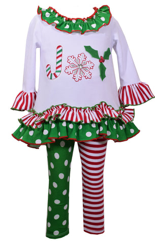 Bonnie Jean Joy Christmas Legging Set