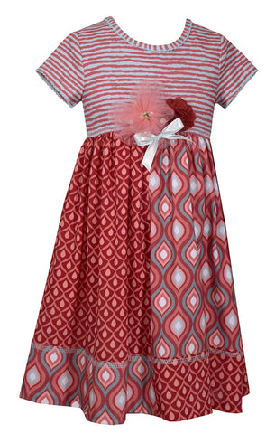Bonnie Jean Dark Coral Geometric Print Fall Dress