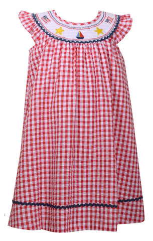 Bonnie Jean Smocked Gingham 4th of July Americana Dress