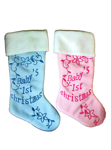 Baby's First Christmas Pink / Blue Jewel Stockings