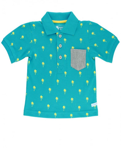 Rugged Butts Teal Palm Tree Polo Romper / Shirt