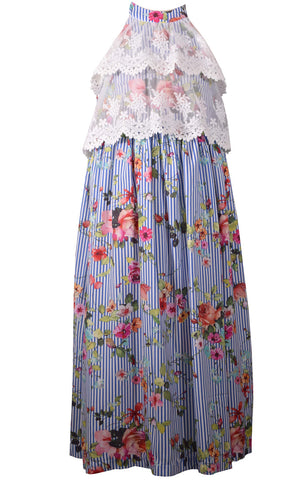 Bonnie Jean Blue Floral Lace Pop Over Maxi Dress