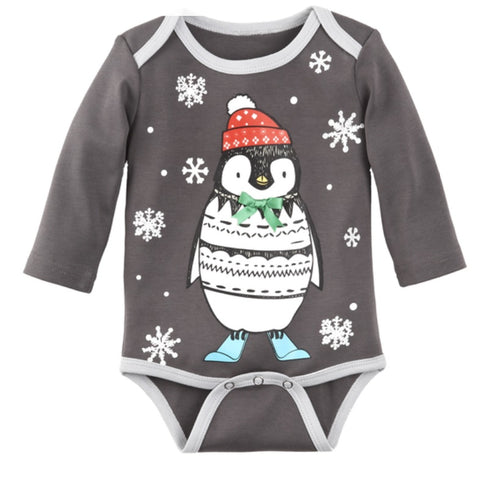 Baby Ganz Long Sleeve Bodysuit Grey Penguin