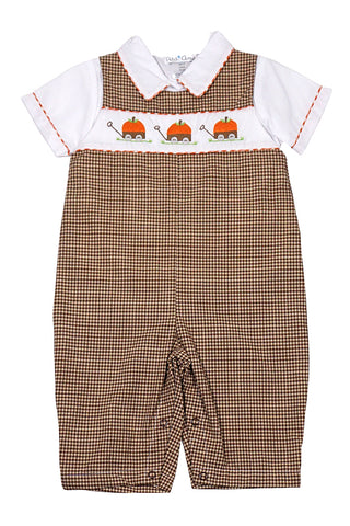 Petit Ami Brown Gingham First Pumpkin Romper