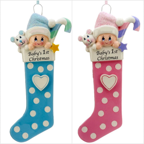 Rudolph and Me Baby's First Chritmas Long Stocking Ornament