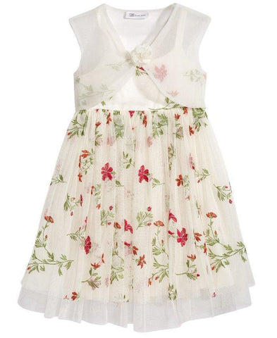 Bonnie Jean Ivory Dress with Embroidered Flowers