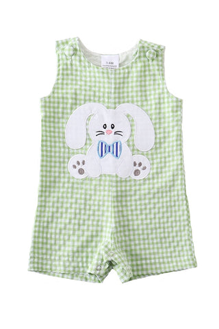 Boys Green Gingham Easter Bunny Romper Jon Jon