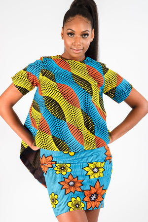 BAMI AFRICAN PRINT BACK-SLIT HIGH-LOW TOP