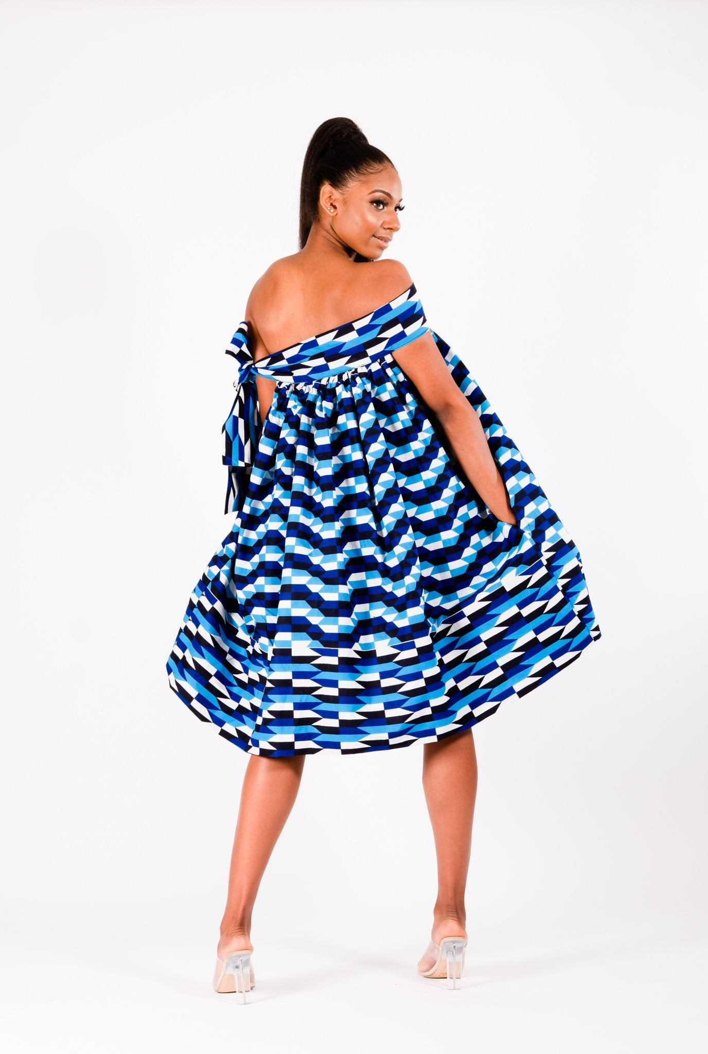 ADEY AFRICAN PRINT KENTE UMBRELLA DRESS