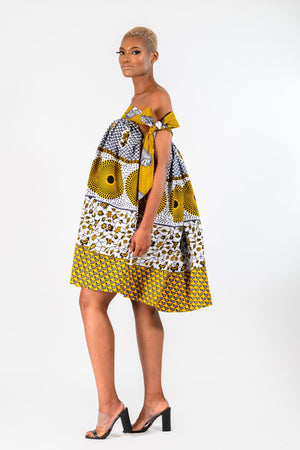 DOLLIE AFRICAN PRINT KENTE UMBRELLA DRESS