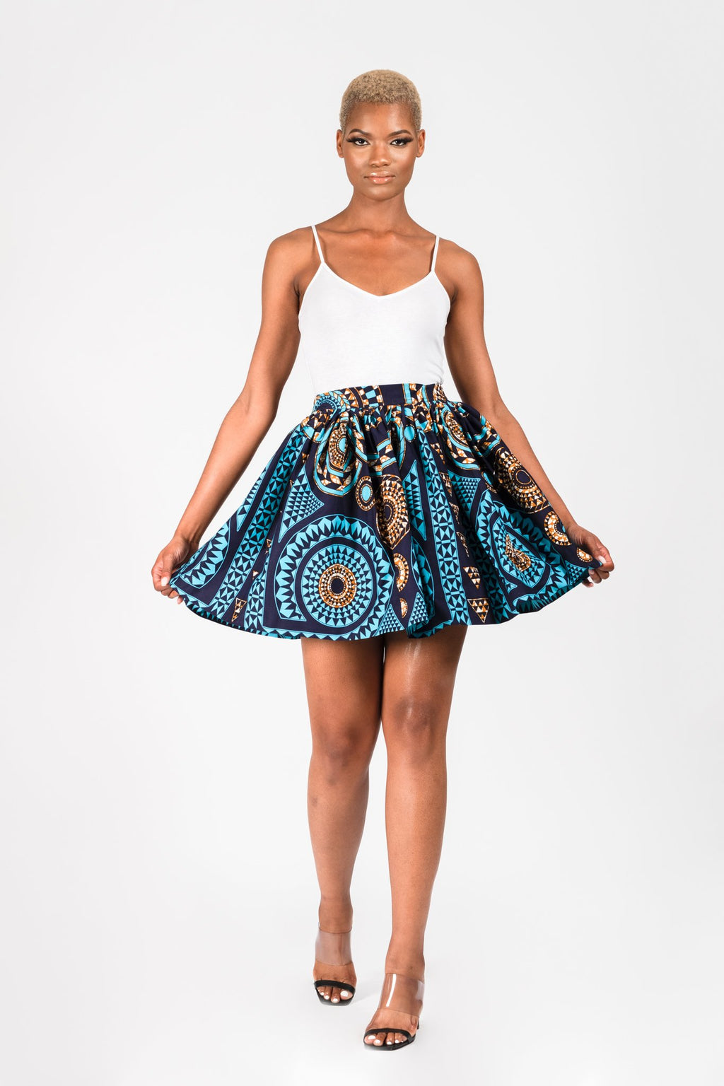 GBEMI AFRICAN PRINT ANKARA FLARED MINI SKIRT