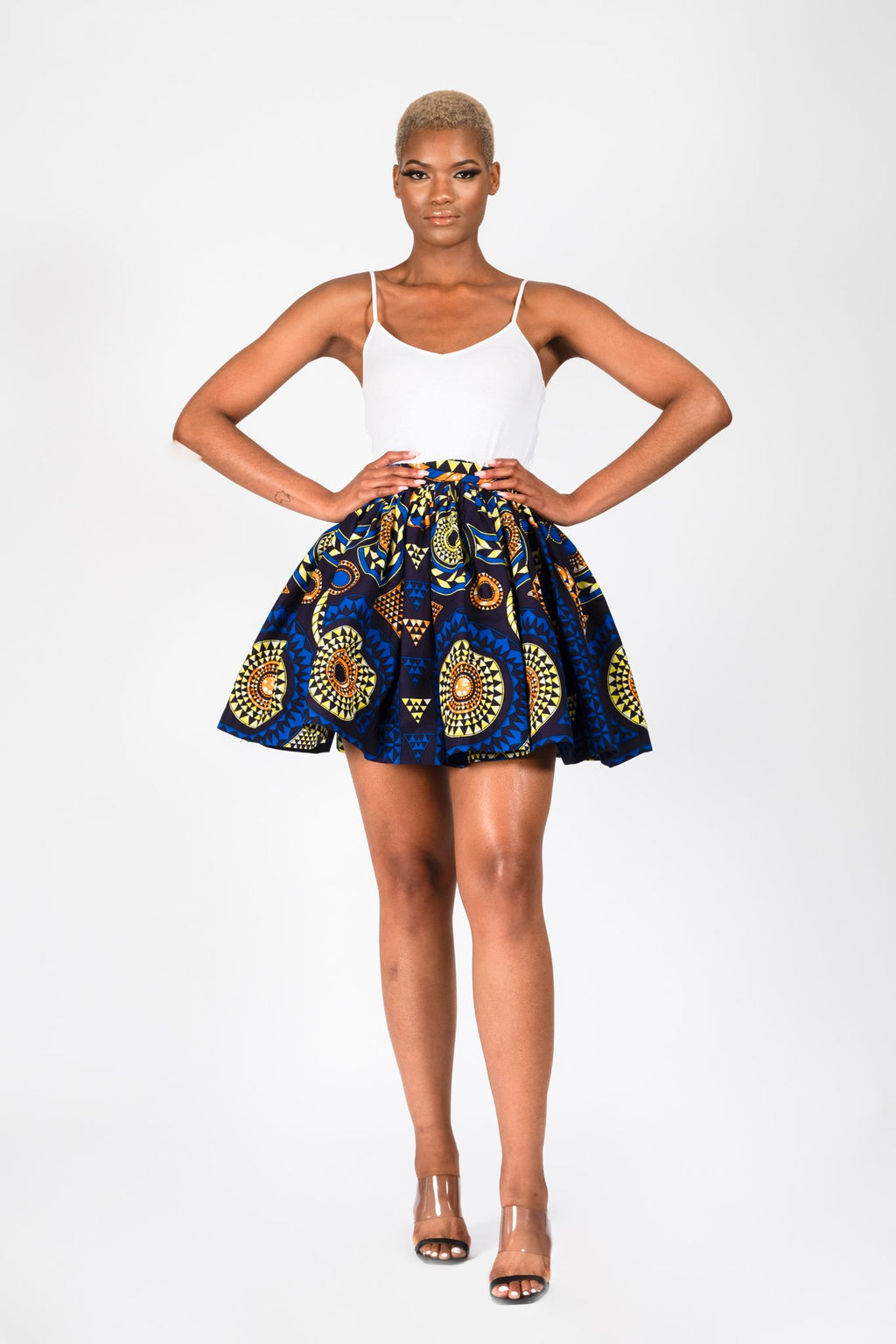DEMI AFRICAN PRINT ANKARA FLARED MINI SKIRT