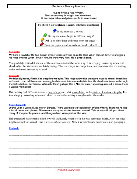 Sentence Fluency: Structure Practice worksheet writing