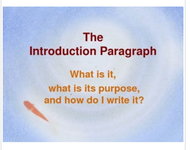 Introduction Paragraphs: Power Point Lesson