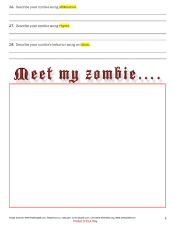 Figurative Language Zombie Worksheet 4 pages