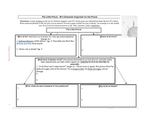 The Little Prince Graphic Organizers (character organizer, close reading)