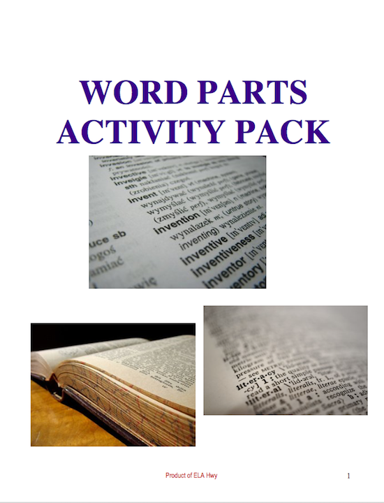 Cover of Word Parts Pack: Prefixes, Root Words, & Suffixes Activity Pack