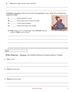 Emma's Magic Winter by Jean Little: Reading Comprehension Workbook