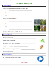 The Seasons by William Rice: Worksheets