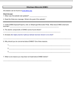 Internet Use Activity/Worksheet: Dihydrogen Monoxide (DHMO)
