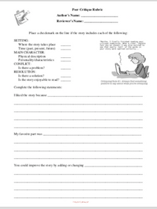 Peer Critique Rubric: Fiction Writing Peer Feedback Form