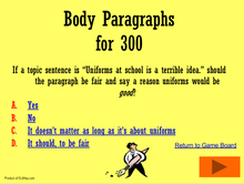 Body Paragraphs Trivia Game: Interactive! Essay prep game