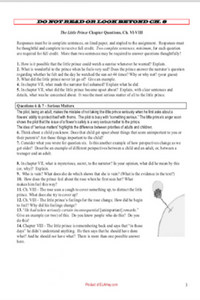 The Little Prince by Antoine de Saint-Exupéry: Chapter questions & tests/assessments