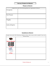 Monster by Walter Dean Myers: Literary Elements Worksheets