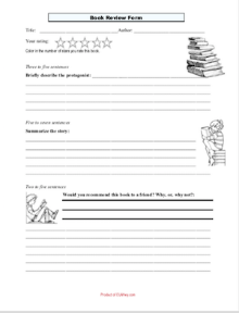 Book Review Form: Grades 5-8 ELA