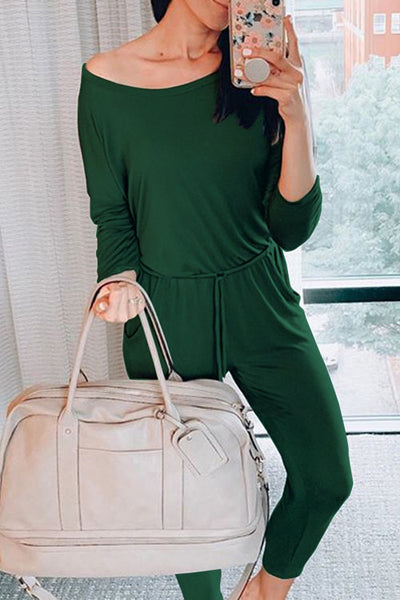 Curvedgirl O Neck Solid Color Long Sleeve Jumpsuit