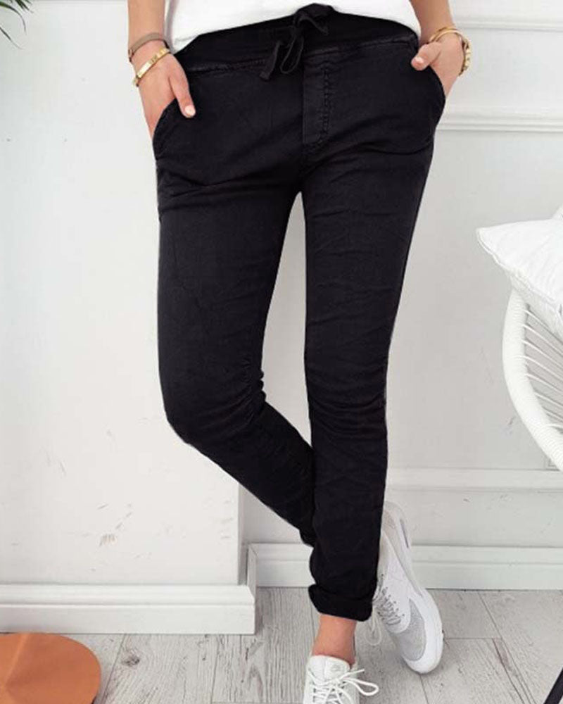 Curvedgirl Leisure Tight-Fitting Solid Color Elastic Pants