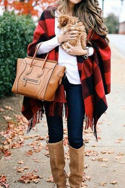 Curvedgirl Double-Sided Red And Black Plaid Tassel Cashmere Scarf Shawl(2 Colors)