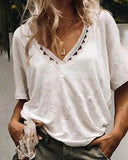 Curvedgirl Solid Color Lace V-Neck T-Shirt