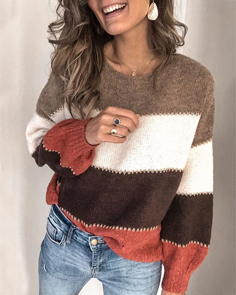 Curvedgirl Casual Striped Sweater(5 Colors)