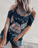 Short Sleeve Printed V-Neck Strapless T-Shirt