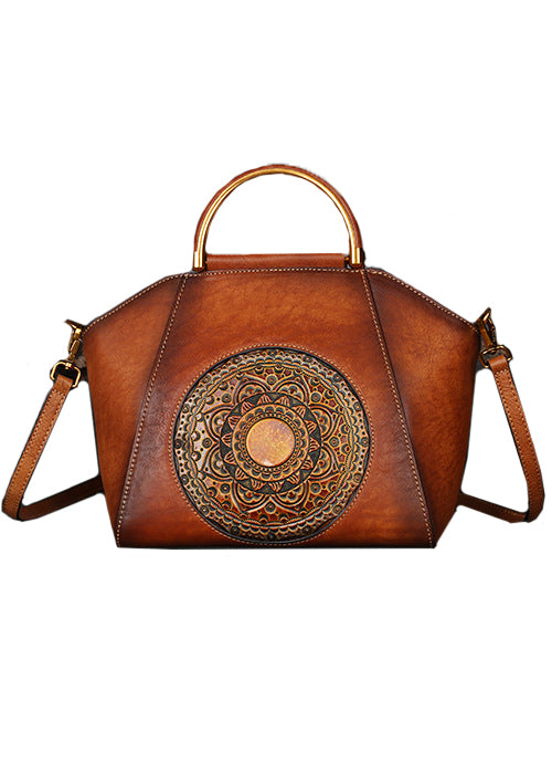 Curvedgirl Totem Embossed Calfskin Single-Shoulder Cross Body Bag